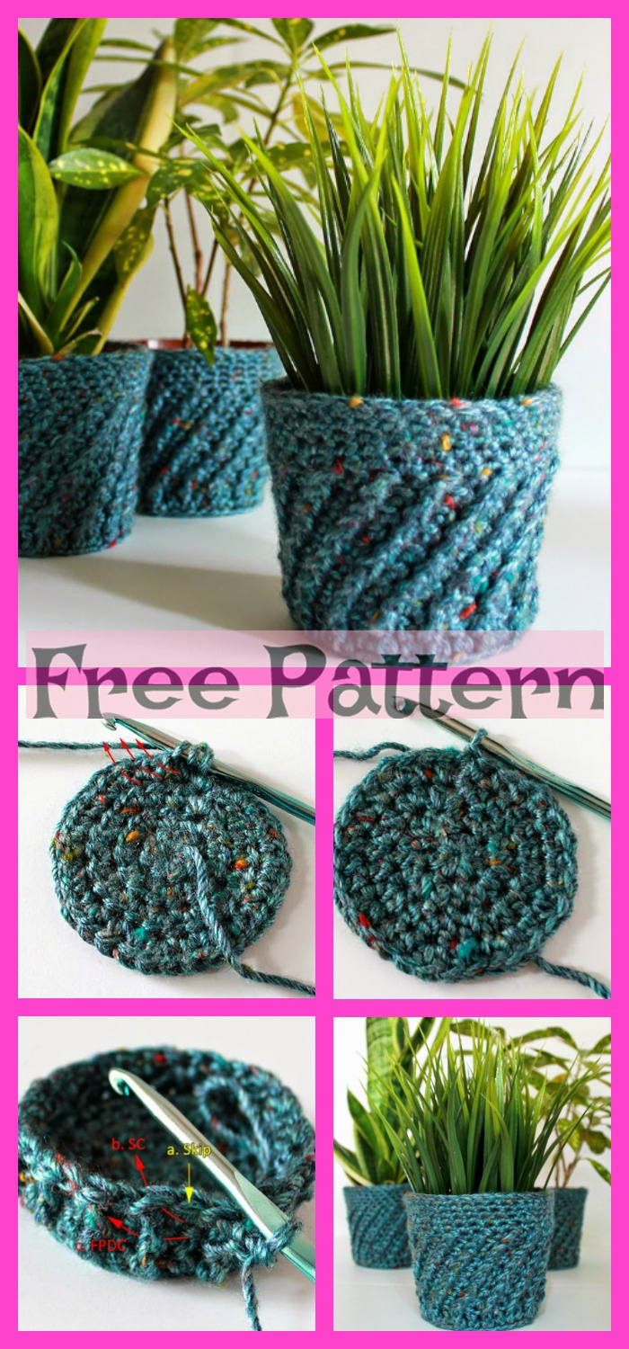 diy4ever-Crochet Fabulous Planter - Free Patterns