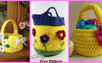 diy4ever-Crochet Flower Basket - Free Patterns