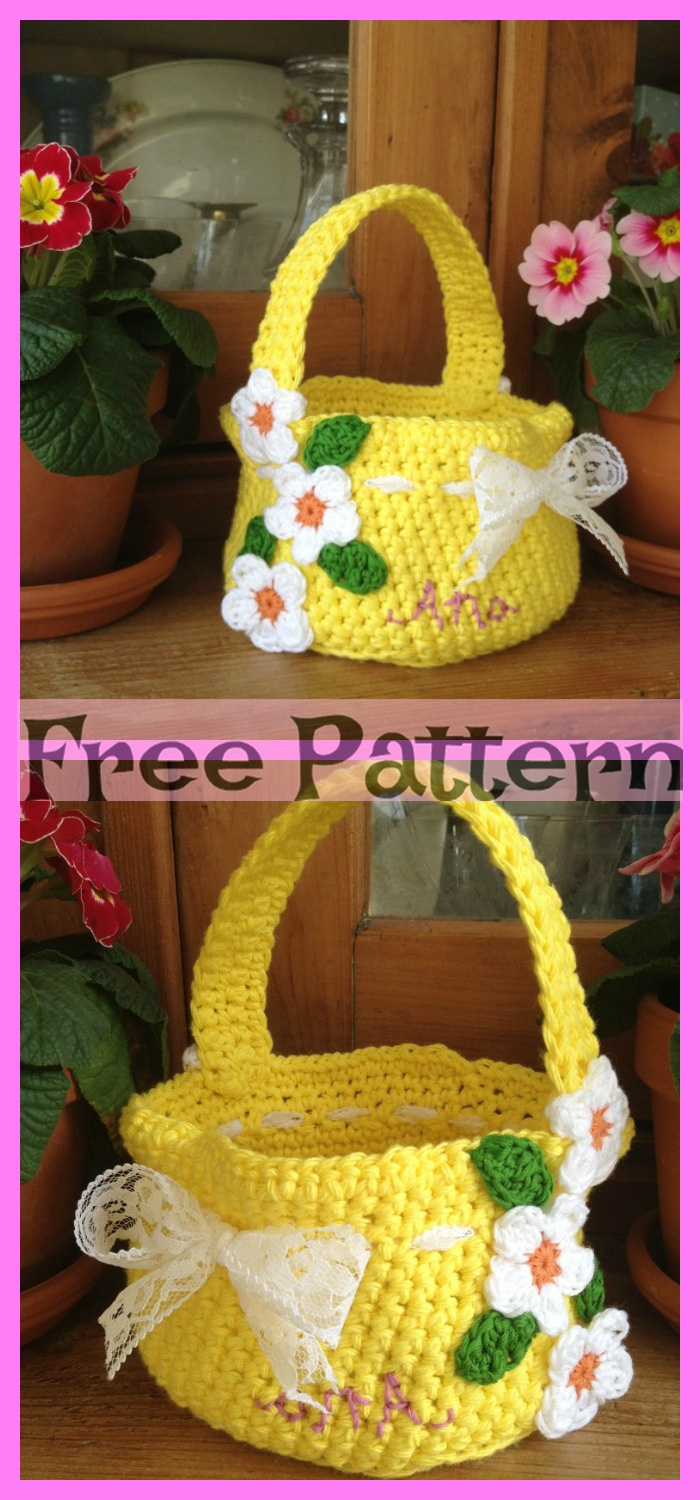 diy4ever-Crochet Flower Basket - Free Patterns