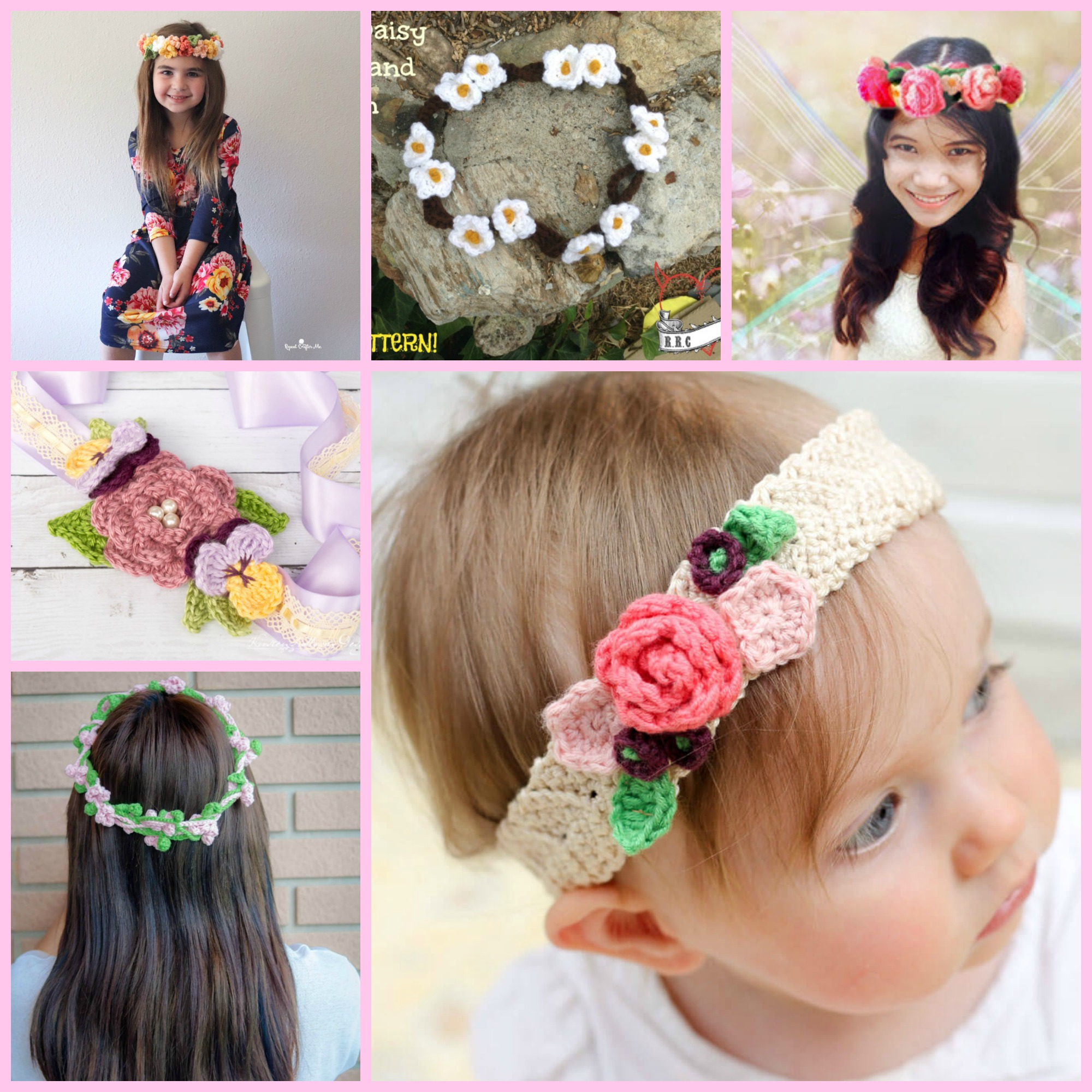 diy4ever-Crochet Flower Crown - Free Patterns