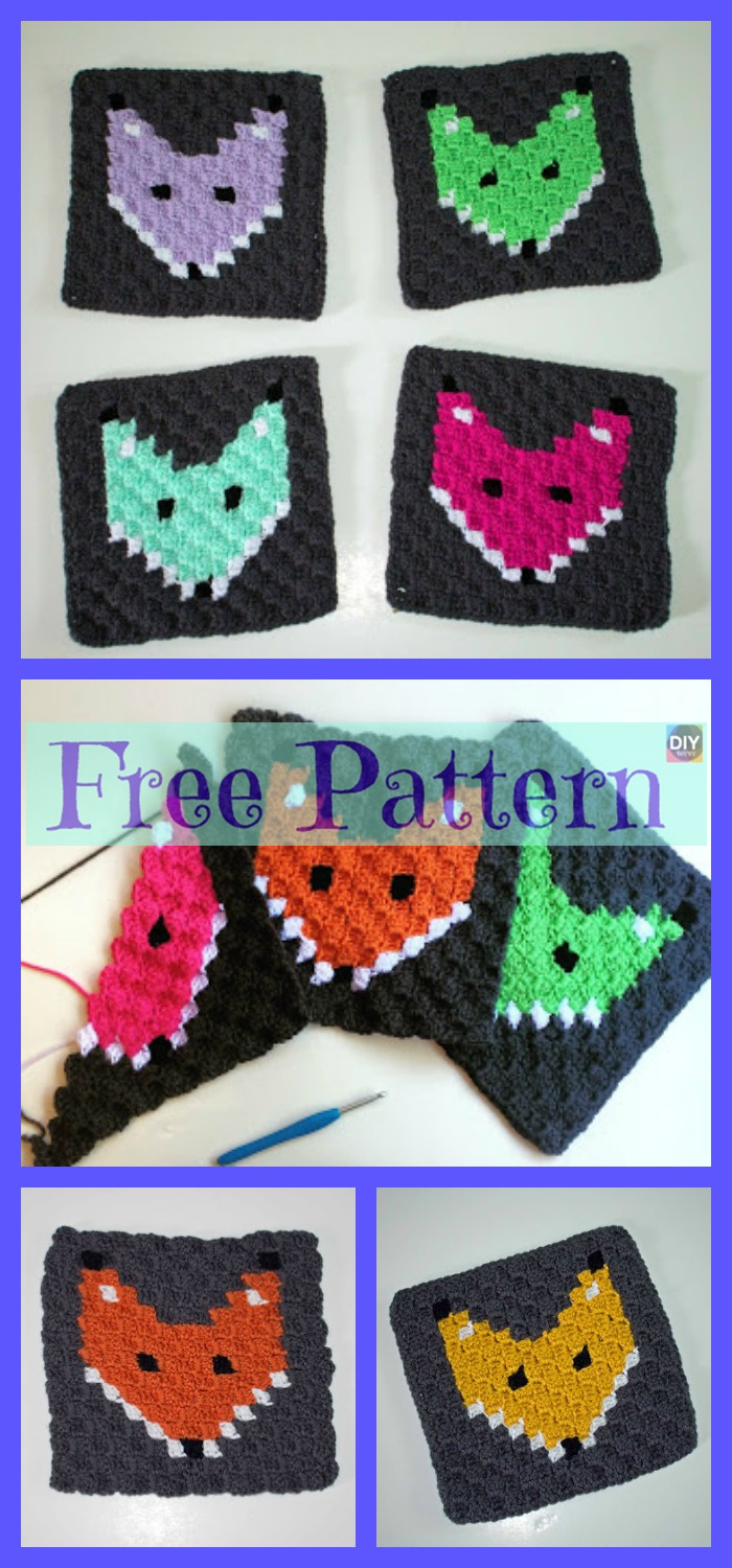 diy4ever-Crochet Fox Granny Square - Free Pattern