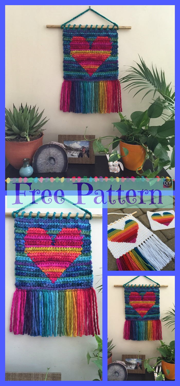 diy4ever-Crochet Heart Wall Hanging - Free Patterns