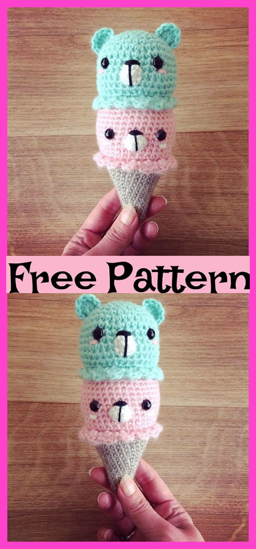 Free Crochet Keychain Pattern- Ice Cream Cone - thefriendlyredfox.com | 1500x700
