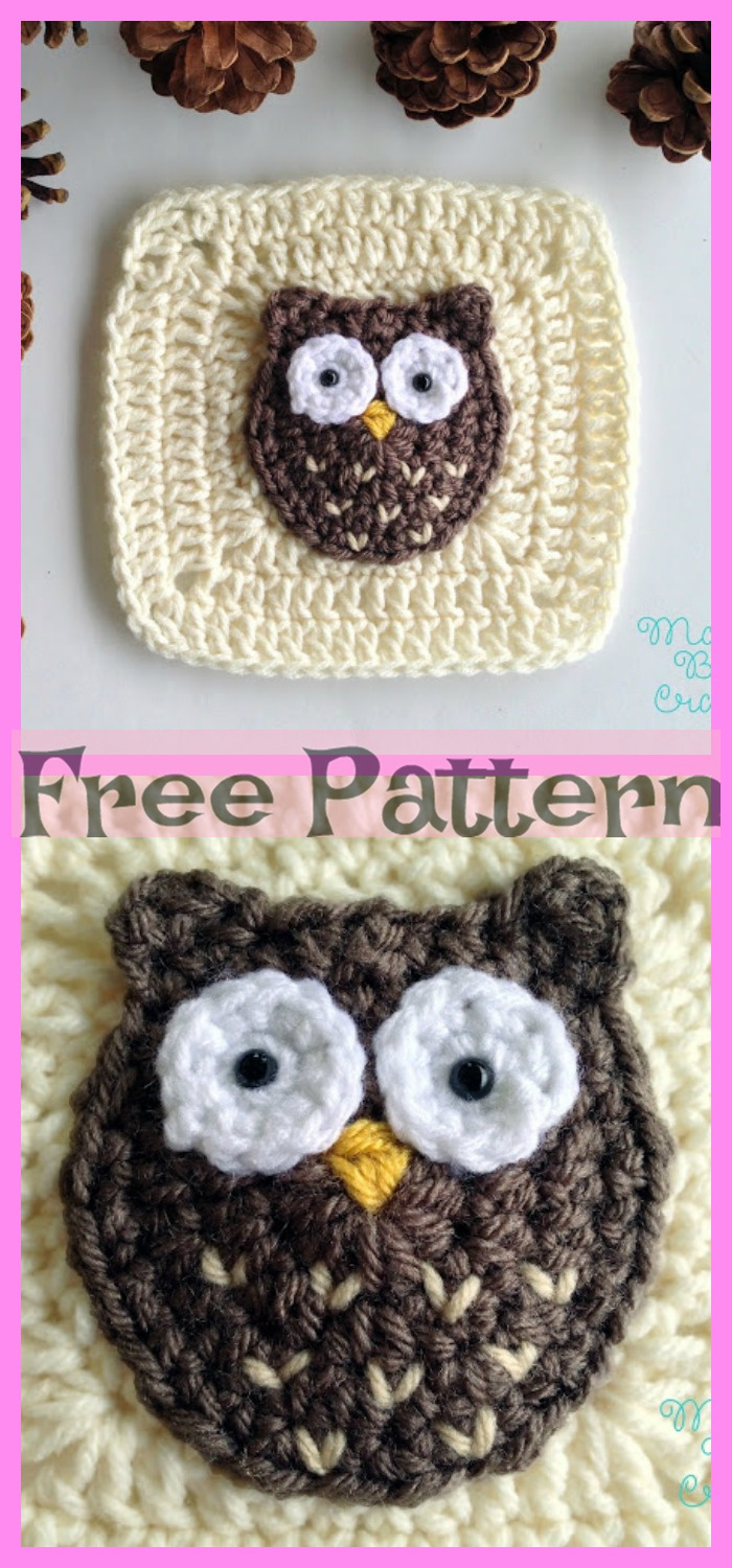 diy4ever-Crochet Owl Granny Squares - Free Patterns