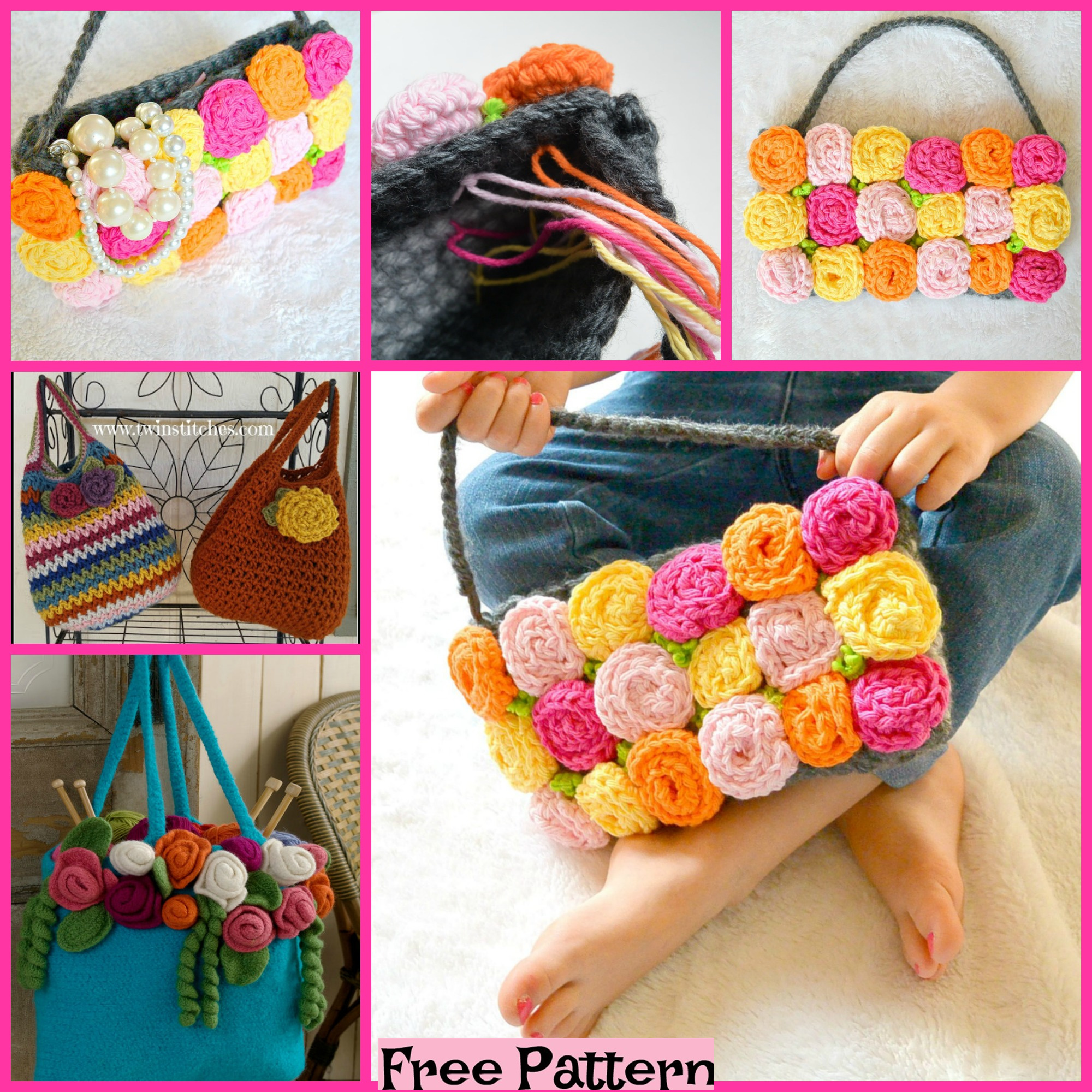 diy4ever-Crochet Rose Purse - Free Patterns