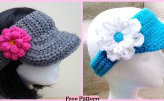 diy4ever- Crochet Sun Visor Caps- Free Patterns