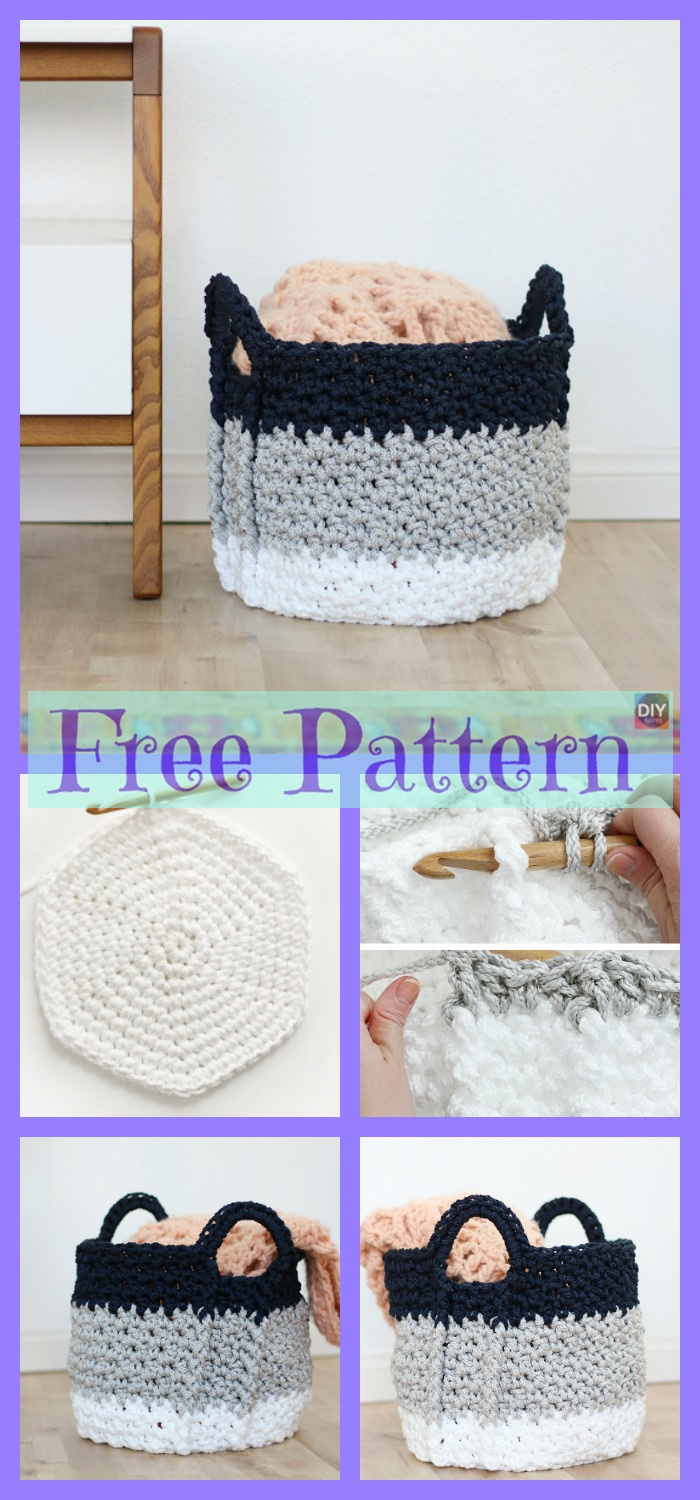 diy4ever-Crochet Yarn Buddy & Basket - Free Patterns
