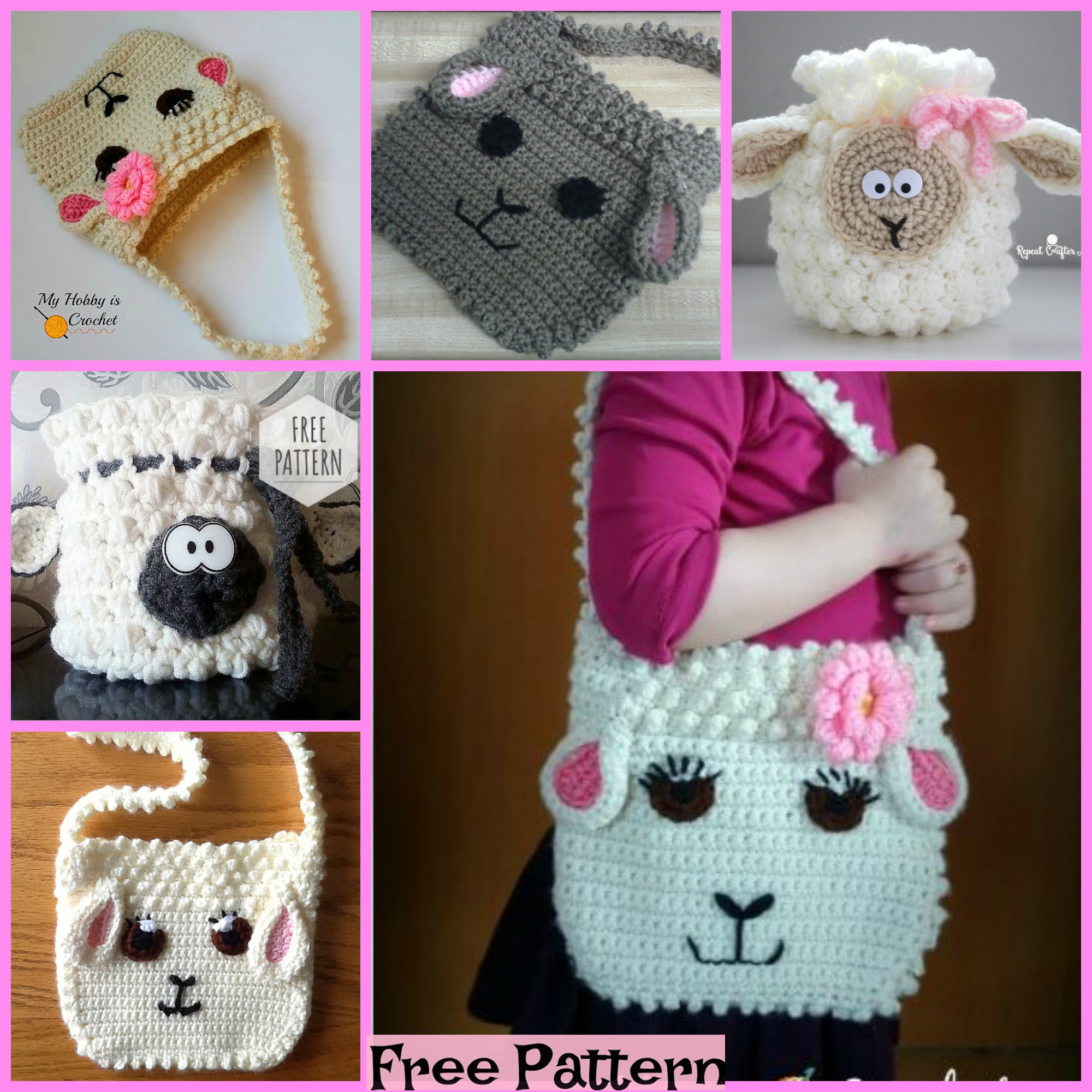 diy4ever-Cute Crochet Sheep Bag - Free Patterns