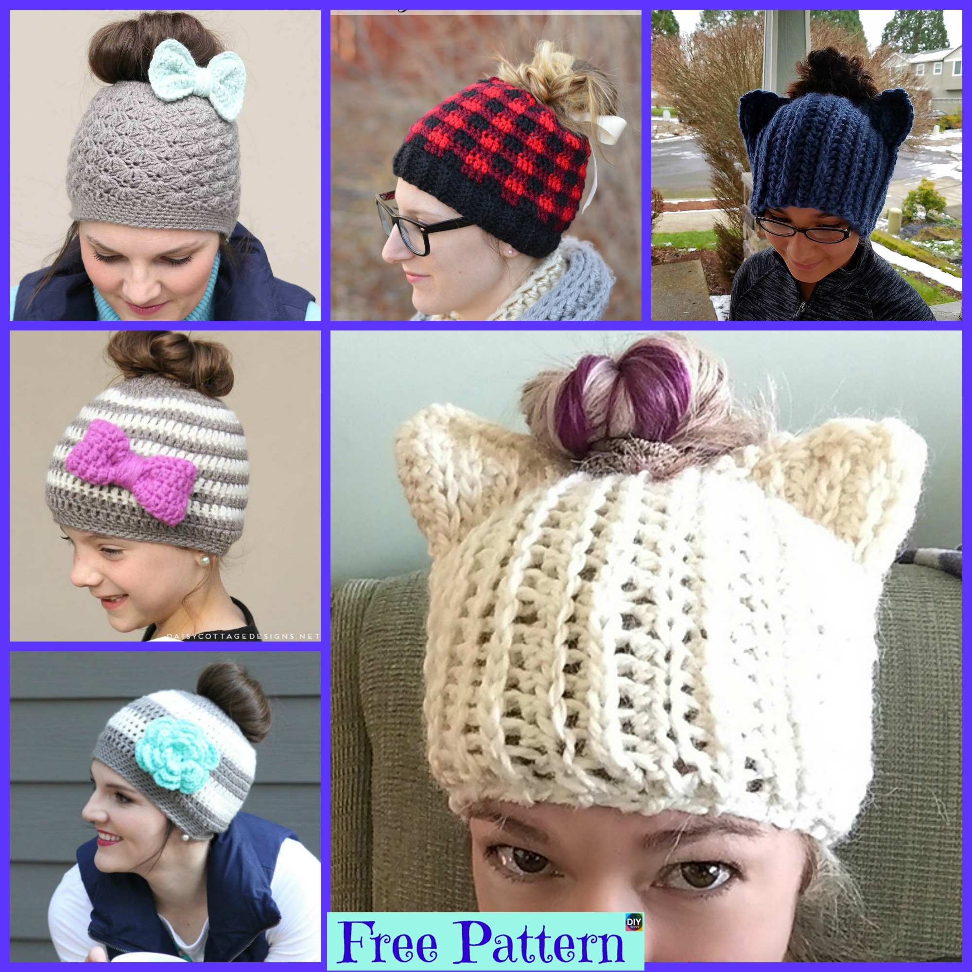 diy4ever-8 Crochet Messy Bun Hat Free Patterns