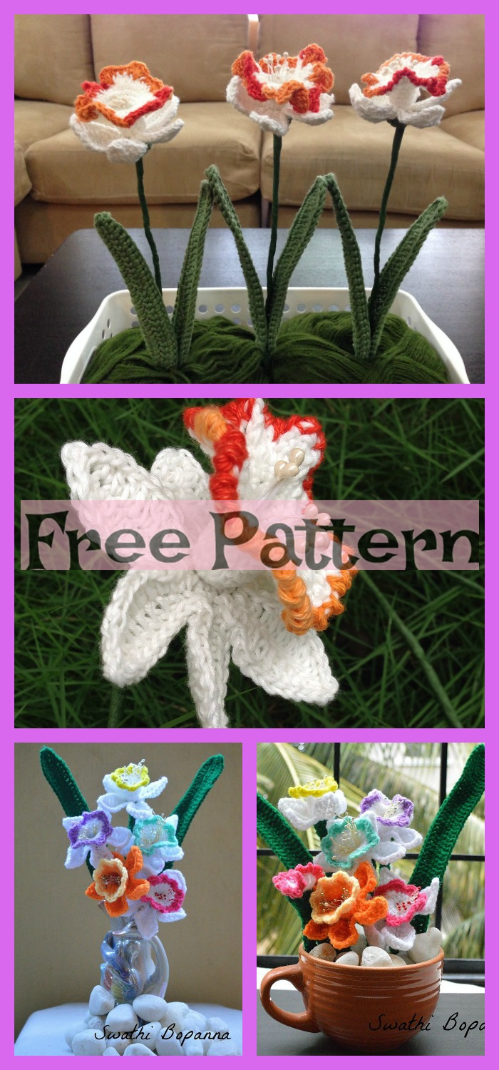 diy4ever-8 Pretty Crochet Flower Bouquets - Free Patterns