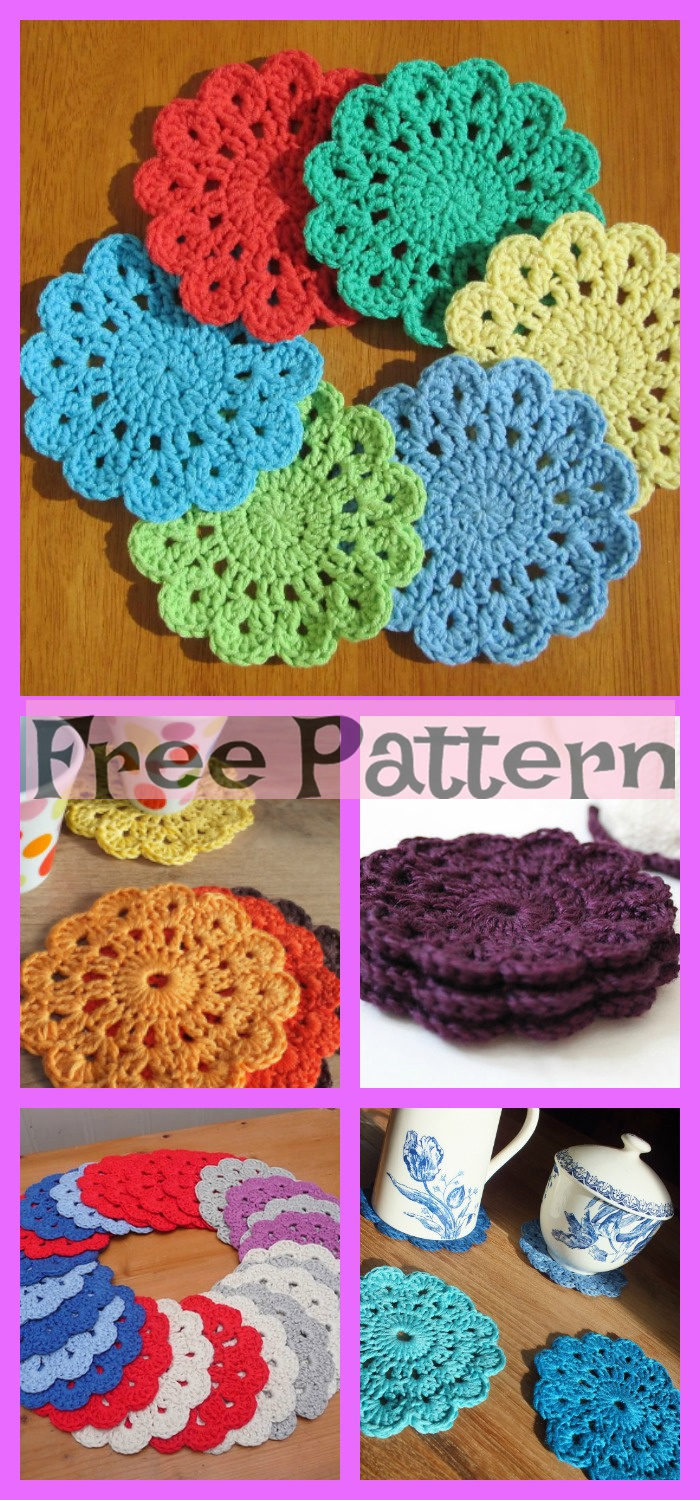 diy4ever- Crochet Flower Coasters - Free Patterns