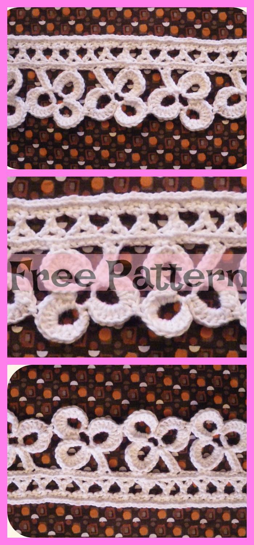 diy4ever-Pretty Crochet Flower Edging - Free Patterns
