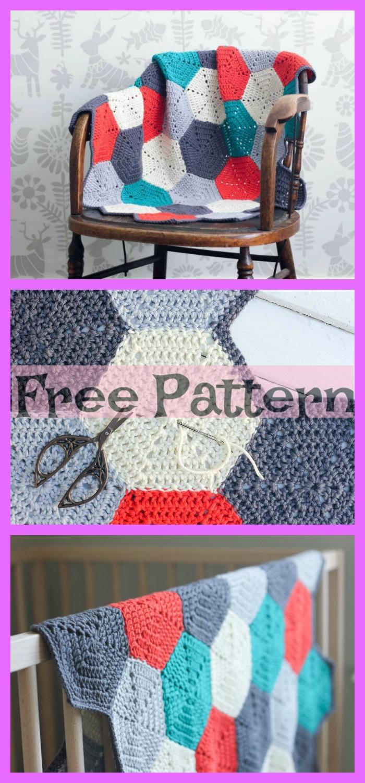 diy4ever- Crochet Hexagon Blanket - Free Patterns
