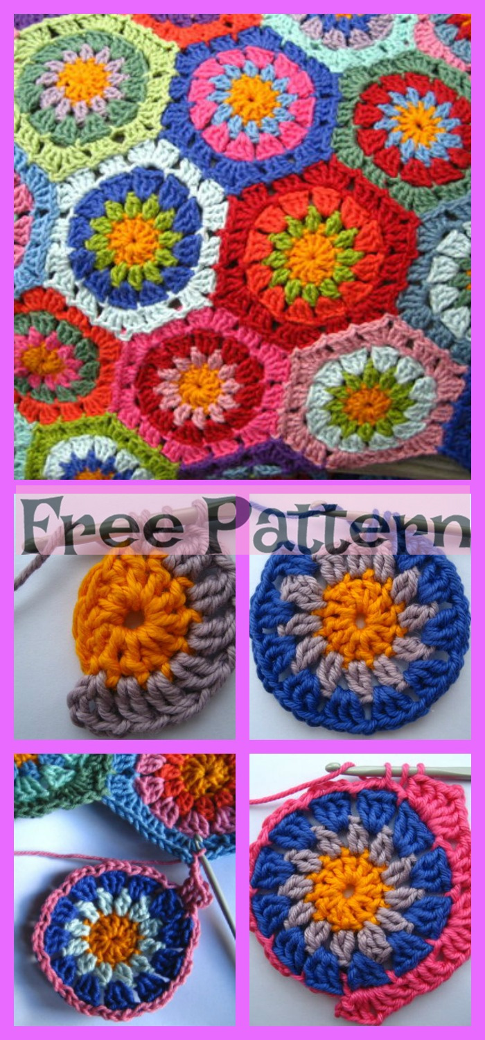 diy4ever- Crochet Hexagon Blanket - Free Patterns