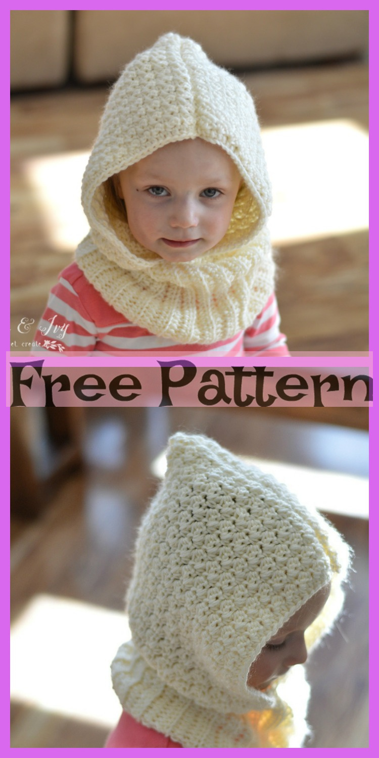 diy4ever-Crochet Hooded Cowl - Free Patterns