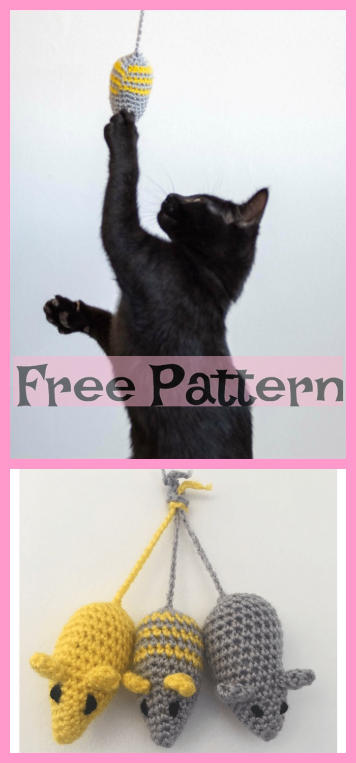 diy4ever-Crochet Mouse Toys for Cat - Free Patterns