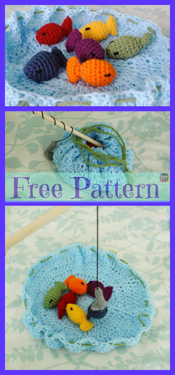 diy4ever-Crochet Rainbow Fishing Game - Free Pattern