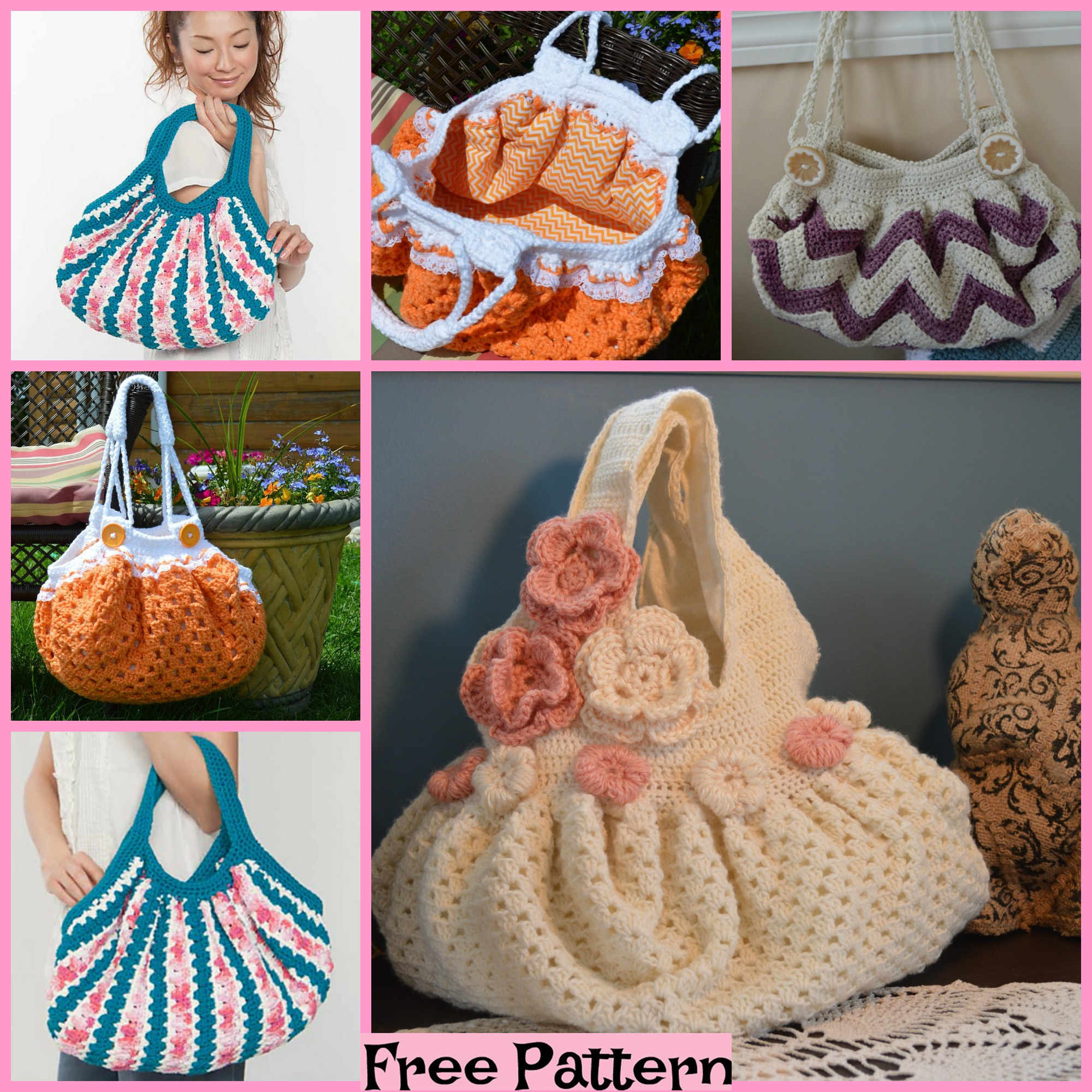 diy4ever-Crochet Unique Bags - Free Patterns